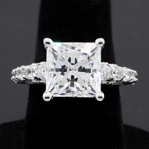 Pompeii with 5.62 Princess Cut Center - 14k White Gold - Ring Size 5.0-5.5