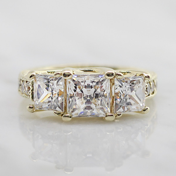 Discontinued Rapture with 3.01 carat Princess Center - 14k Yellow Gold - Ring Size 7.0-8.0