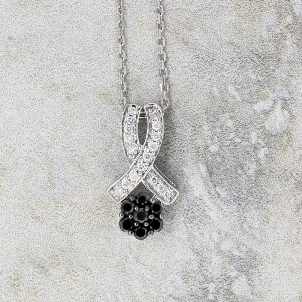 Ribbon Pendant with Clear and Black Stones - 14k White Gold