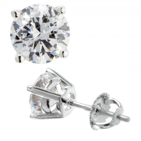 Round Cut Studs, Screw-Back, Basket Set  - 14k White Gold - 1.03 Carats Each