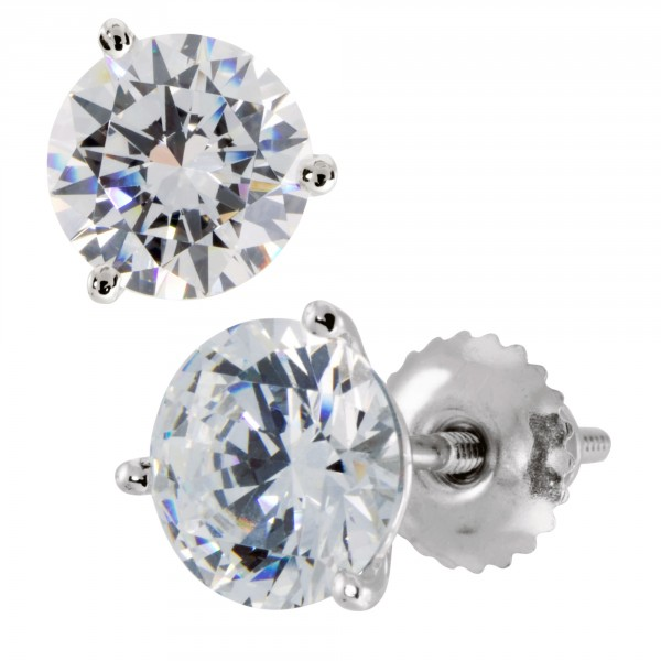 Round Brilliant Martini Set, Screw-Back Studs - 14k White Gold - 1.67cts Each