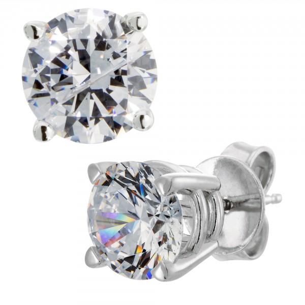 Round Cut Stud Earrings, Tension Back, Basket Set - 0.66  carat each