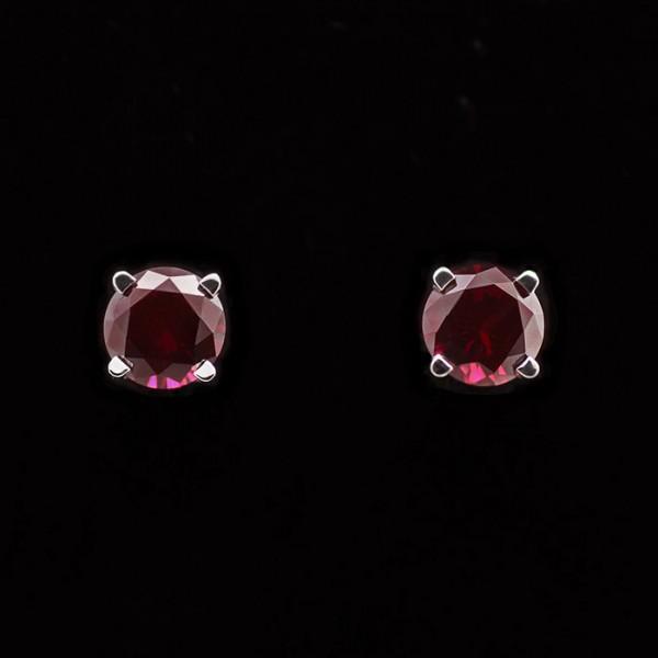 Basket-Set Stud Earrings with 1.28 carat Ruby Each - 14k White Gold