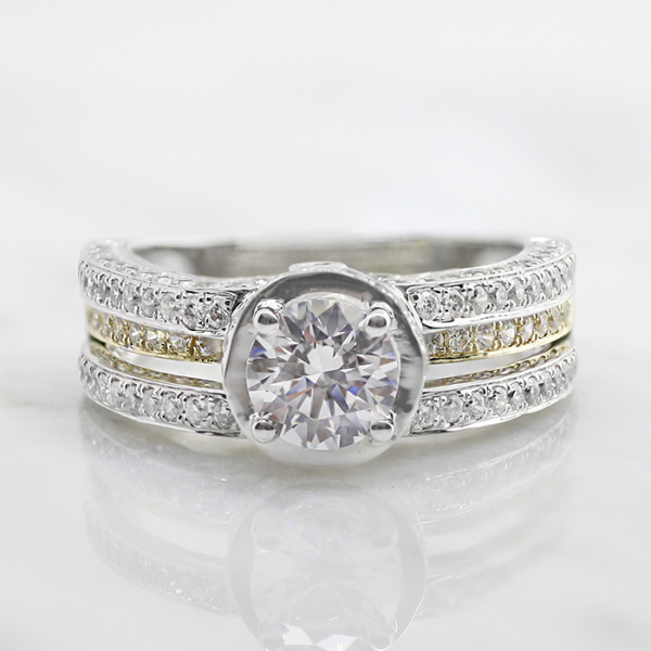 Discontinued Sabrina with 2.04 Carat Round Brilliant Center - 14k White & Yellow Gold - Ring Size 5.25
