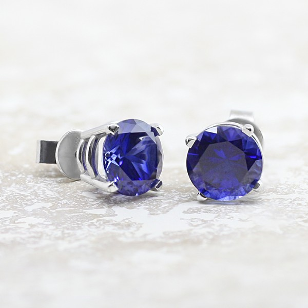 Round Basket-Set Stud Earrings with Tension Backs - 2.75 carat Sapphires each - 14k White Gold