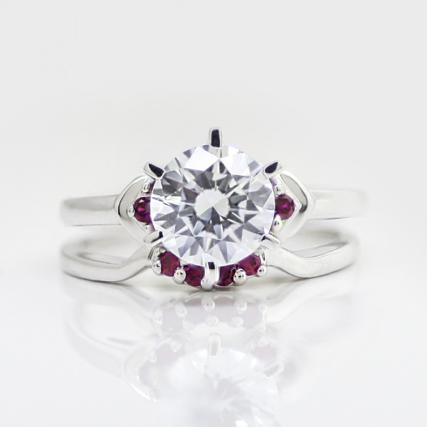 Semi-Custom Embraceable You with 2.04 carat Round Brilliant Center and Ruby Accents and One Matching Band - 14k White Gold - Ring Size 9.75