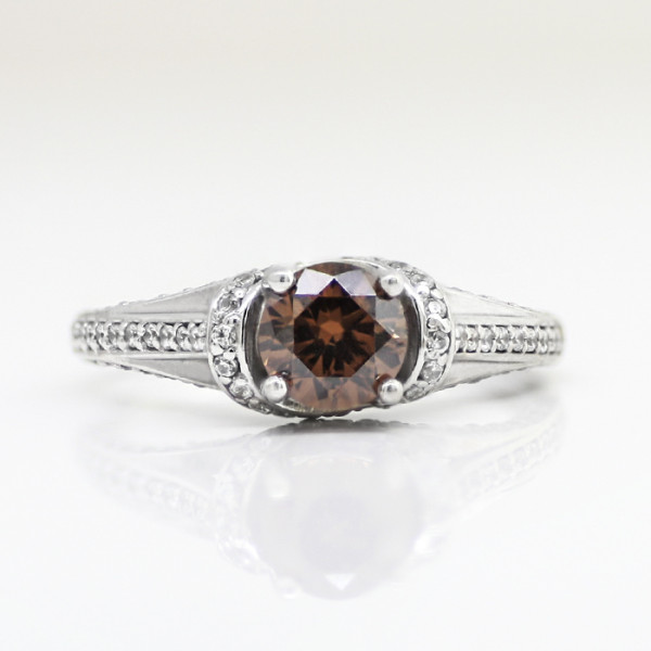 Semi-Custom Jessica with 0.84 carat Chocolate Round Brilliant Center - 10k White Gold - Ring Size 7.0-8.0