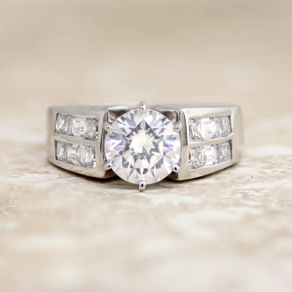 Siren with 2.04 carat Round Brilliant Center - 14k White Gold - Ring Size 5.5-6.5