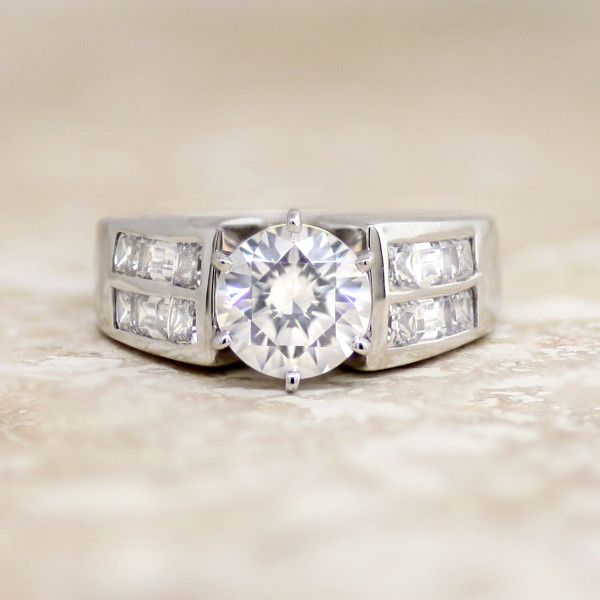 Discontinued Siren with 1.49 carat Round Brilliant Center - 14k White Gold - Ring Size 7.0-8.0