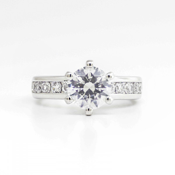Six Prong Channel Set Ring with 2.04 carat Round Brilliant Center - Platinum - Ring Size 6.0