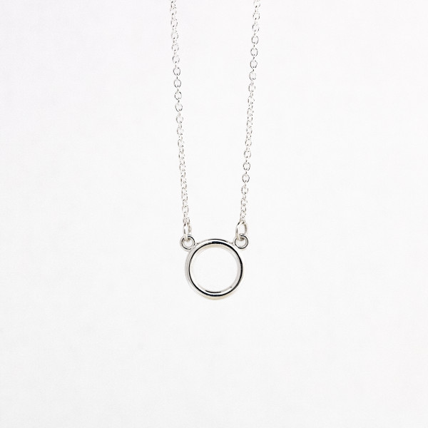 """Small Circle Necklace - Sterling Silver - 18"""" Chain Length"""
