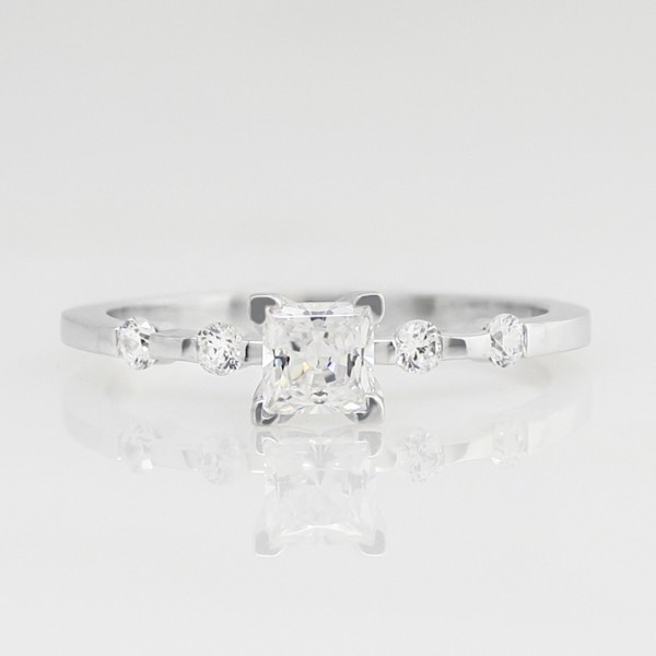 Talya with 0.56 carat Princess Center - 14k White Gold - Ring Size 8.5