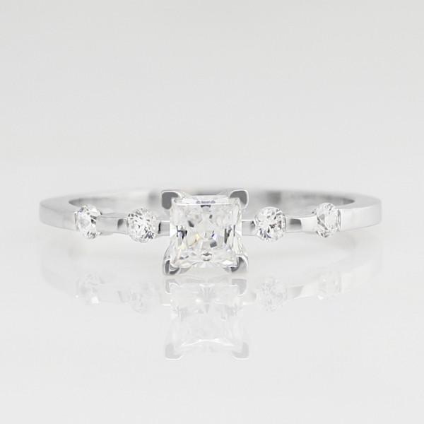 Talya with 0.99 carat Princess Center - 14k White Gold - Ring Size 9.0