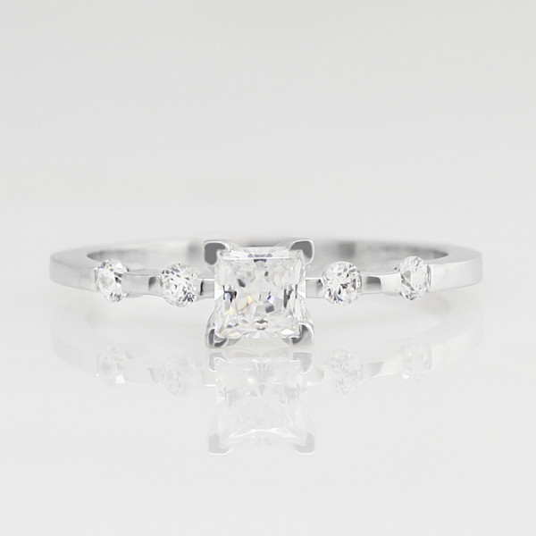Discontinued Talya with 0.99 carat Princess Center - 14k White Gold - Ring Size 9.0