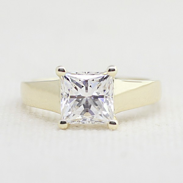 Tempest with 2.40 carat Princess Center - 14k Yellow Gold - Ring Size 4.75-8.75