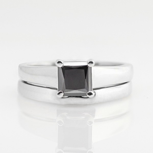 Tempest with 1.24 carat Black Princess Center and One Matching Band - 14K White Gold - Ring Size 7.0-8.0
