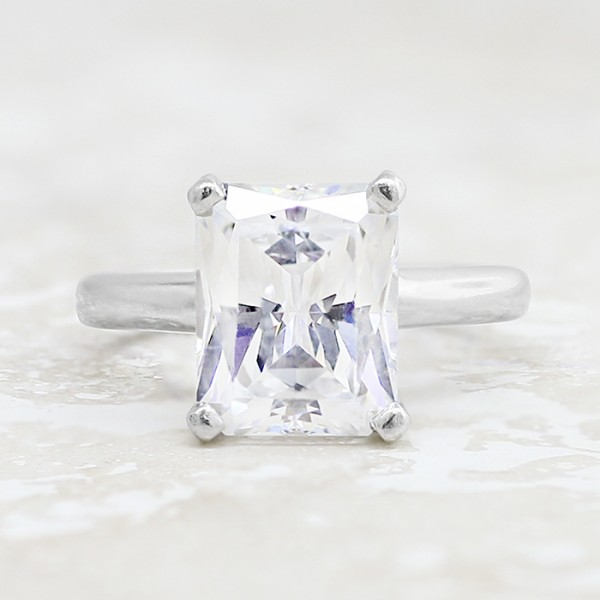 Tiffany-Style Solitaire with 1.74 carat Radiant Center - 14k White Gold - Ring Size 4.0-8.0