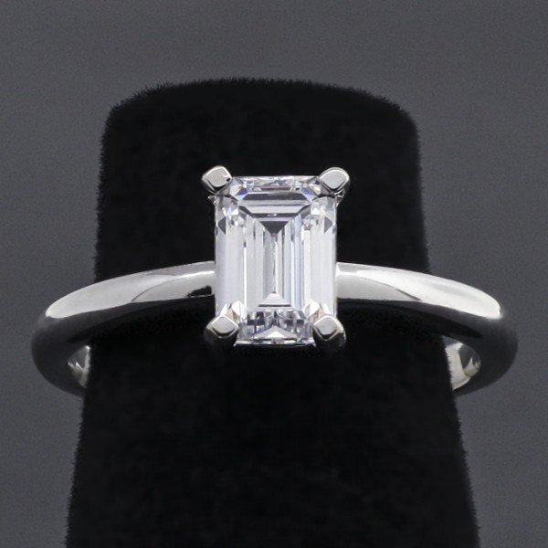 Modified Tiffany-Style Solitaire with 1.06 Emerald Cut - 14k White Gold - Ring Size 6.75