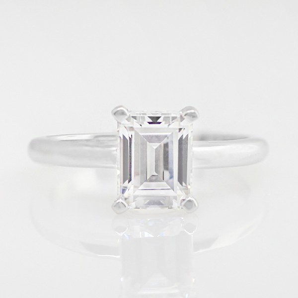 Tiffany Style Solitaire with 1.74 carat Emerald Center - 14k White Gold - Ring Size 4.75-8.0