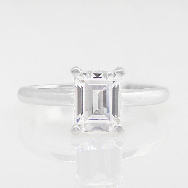 Semi-Custom Tiffany-Style Solitaire with 1.45 carat Emerald Center - Platinum - Ring Size 4.5