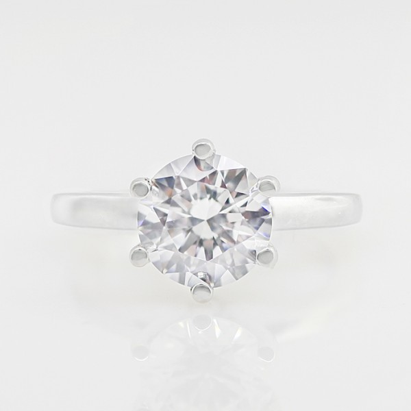 Tiffany Style 6-Prong with 1.49 carat Round Brilliant Center - 14K White Gold - Ring Size 4.75-8.75