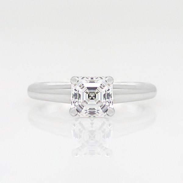 Tiffany-Style Solitaire with 0.99 carat Asscher Center - 14k White Gold - Ring Size 7.00
