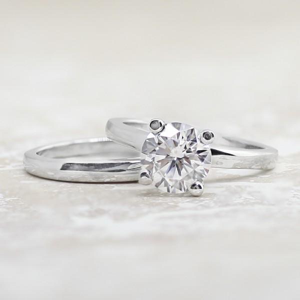 Tiffany-Style Solitaire with 1.75 carat Round Brilliant Center and One Matching Band - 14k White Gold - Ring Size 4.0-8.25