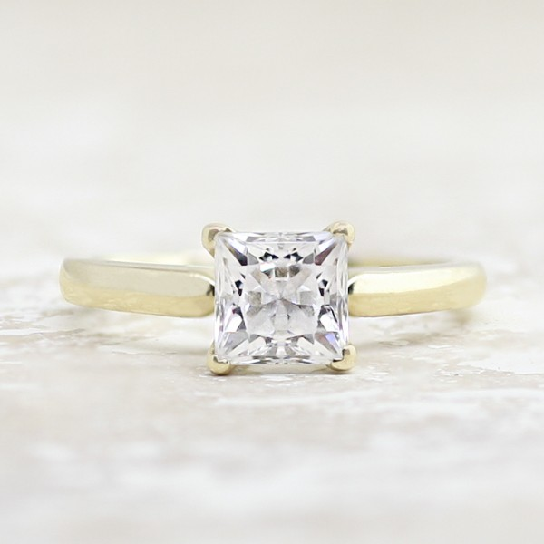 Tiffany Style Solitaire with 1.24 carat Princess Center - 14k Yellow Gold - Ring Size 4.0-7.0