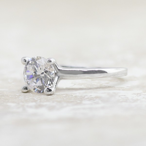 Tiffany-Style Solitaire with 1.24 carat Round Brilliant Center - 14k White Gold - Ring Size 4.0-8.0