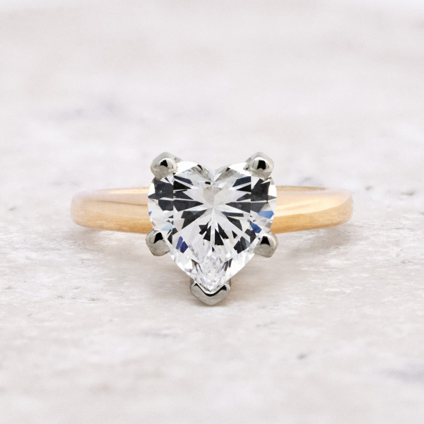 Tiffany-Style Solitaire with 3.16 carat Heart Center - 14k Yellow Gold - Ring Size 7.0-10.0