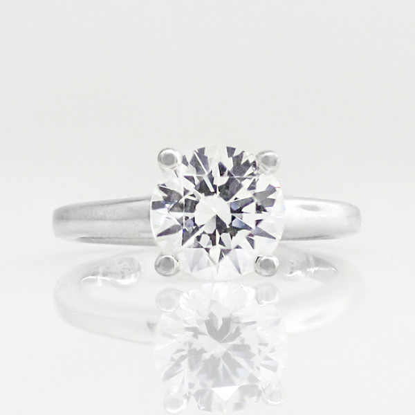 Tiffany-Style Solitaire with 3.05 Carat Round Brilliant Center - 14k White Gold - Ring Size 7.0-11.0