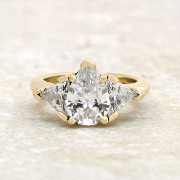 Timeless with 2.61 Pear Center - 14k Yellow Gold - Ring Size 7.25