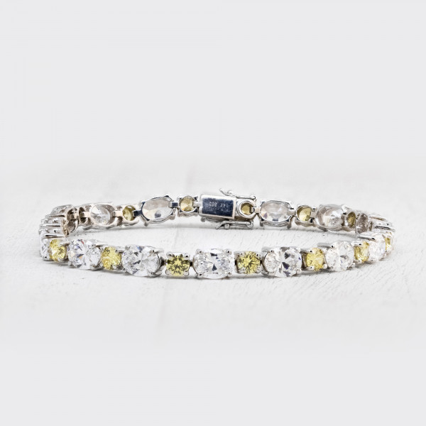 Tracy Tennis Bracelet with Canary Accents - 14k White Gold
