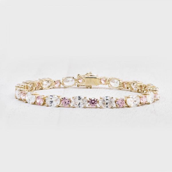 Tracy Tennis Bracelet with Rose Accents - 14k Yellow Gold