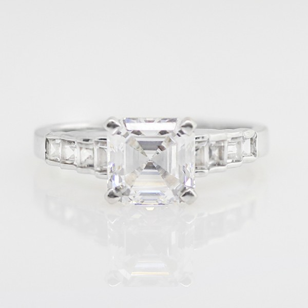 Tristan with 1.96 carat Asscher Center - 14k White Gold - Ring Size 6.5-7.5