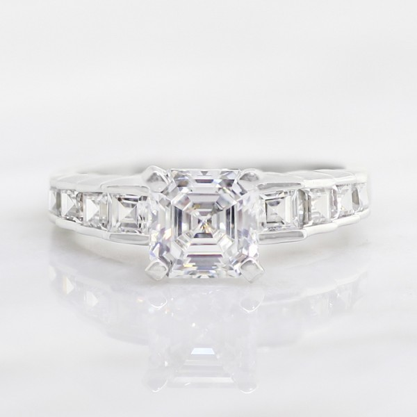Tristan with 1.24 carat Asscher Center - 14k White Gold - Ring Size 6.0-8.0