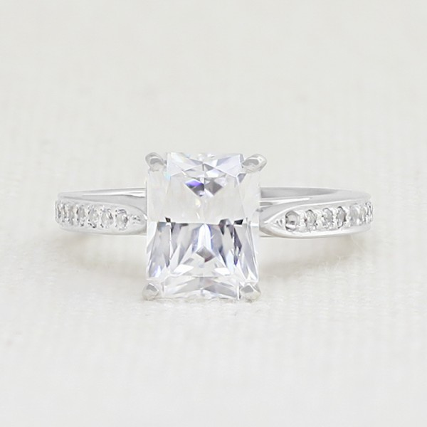 True Love with 2.25 carat Radiant Center - 14k White Gold - Ring Size 4.0-7.0