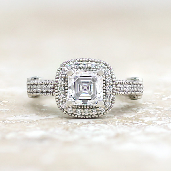 Venice with 2.40 carat Asscher Center - 14k White Gold - Ring Size 5.75
