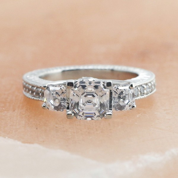 Three Stone Ring with 1.24 carat Asscher Center - Platinum - Ring Size 5.0