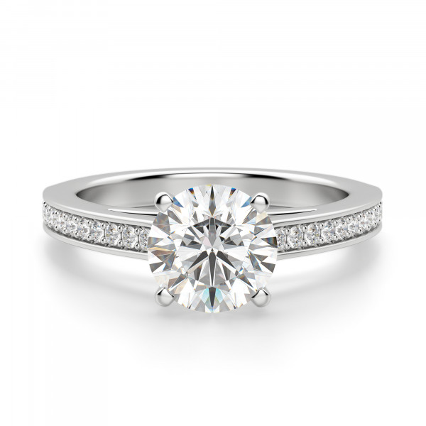 Accented 4-Prong Round cut Engagement Ring