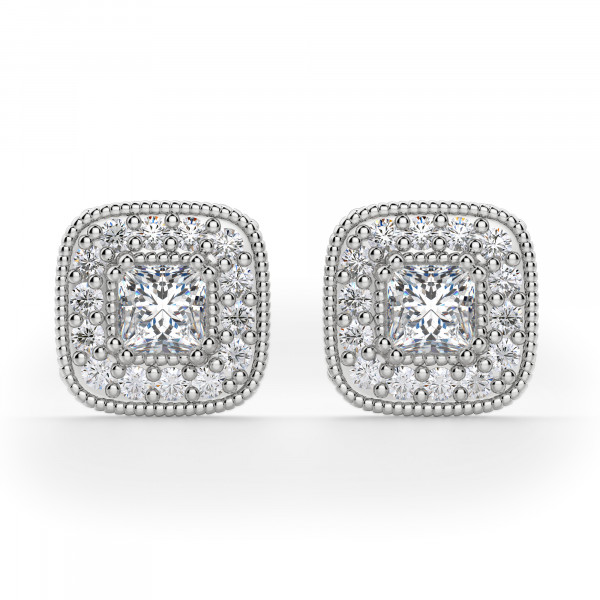 Anna Princess Cut Stud Earrings