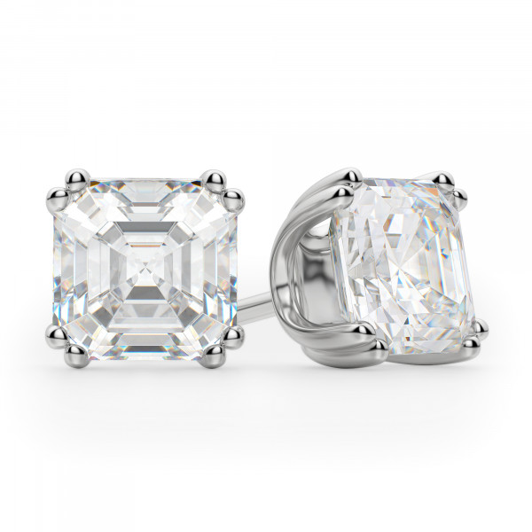 Asscher Cut Studs, Tension Back, Prong Set