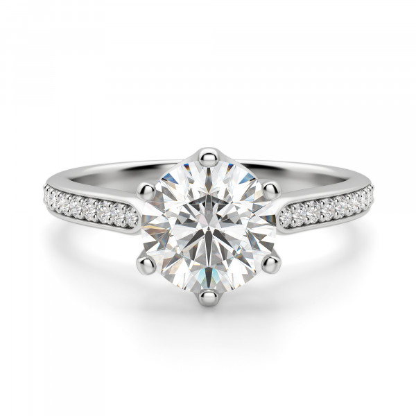 Bali Accented Round cut Engagement Ring