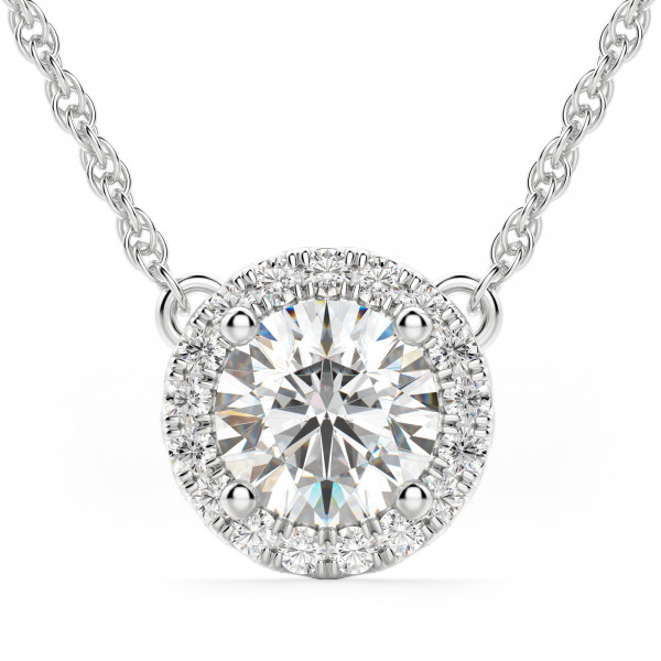 Berlin Round Cut Halo Necklace