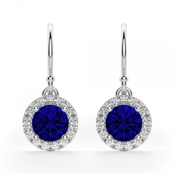 Berlin Round Cut Sapphire Drop Earrings