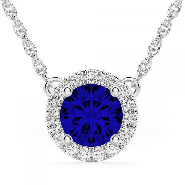 Berlin Round Cut Sapphire Halo Necklace
