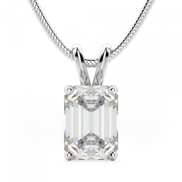 Emerald Cut Basket Set Pendant