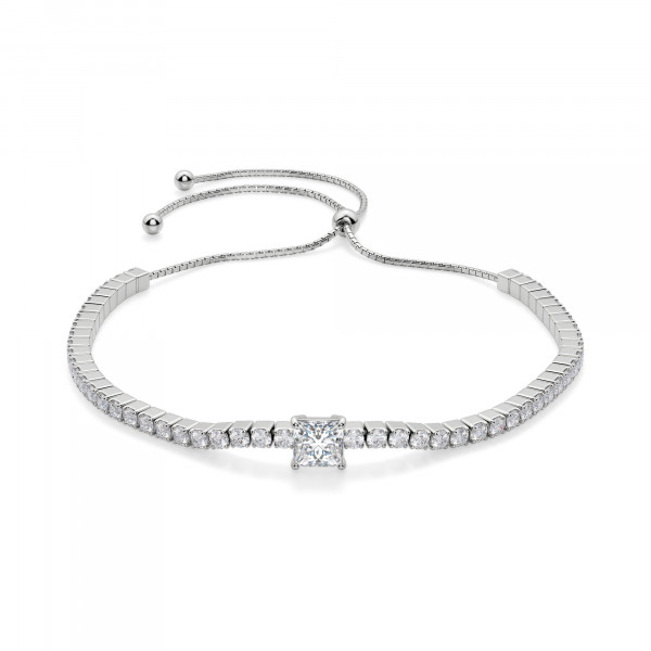 Bound To You Princess Cut Bracelet, Silver