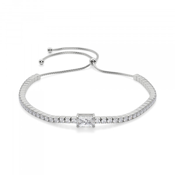 Bound To You Radiant Cut Bracelet, Silver