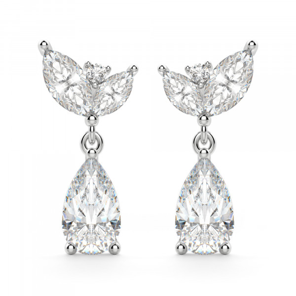 Camellia Pear Cut Drop Earrings